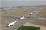 Airplanes lined up at JFK