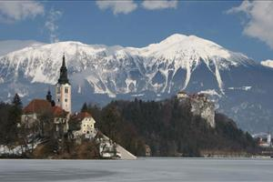 lake bled with mountain view