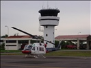 Helicopter infront of Tower at Balikpapan airport
