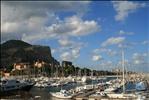 Montepellegrino e Villa Igiea dal Molo dell'Acquasanta