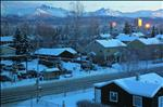 The Golden Glint of Sunset, houses, buildings, mountains, trees, snow, Christmas Eve, Anchorage Alaska USA