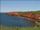 Walking in Les Îles: red cliffs