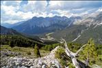 View from Murteras da Chantun at the Swiss National Park, Zernez towards the valley