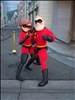 Elastigirl and Mr. Incredible in the Hollywood Pictures Backlot