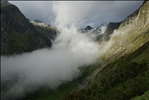 Clouds roll in by McKinnon Pass on the Milford Track hike.