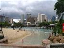 Man-made beach on Brisbane's South Bank
