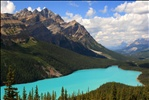 Classic view of a cloudfree Peyto Lake, Banff National Park, Alberta, Canada