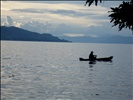 fishing at dusk on Lake Toba