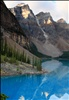 First view of Moraine Lake in Banff National Park