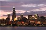 Glowing cityscape